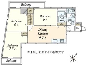 セブンスターマンション三軒茶屋の間取図