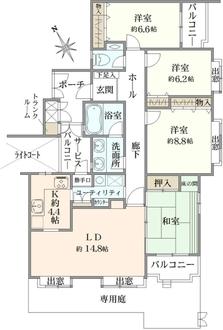 コープ野村緑山ヒルズ弐番館の間取図