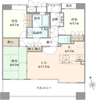 パークスクエアネオス横浜コートフォートの間取図