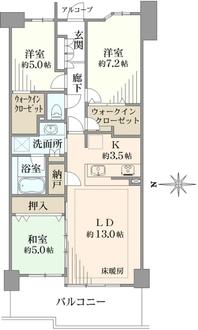 ヒルコートテラス横浜汐見台F棟の間取図