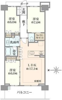 ブリリアシティ横浜磯子K棟の間取図