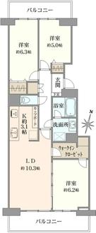 横浜星の丘ビューシティA棟の間取図