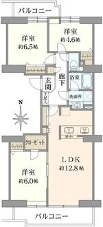 コープ野村バードウッド鶴見3番館の間取図