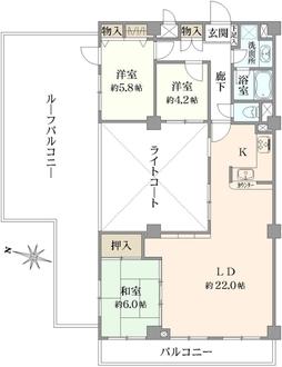 エクレール弘明寺1号棟の間取図