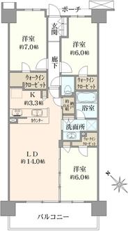 シティテラス横濱和田町の間取図