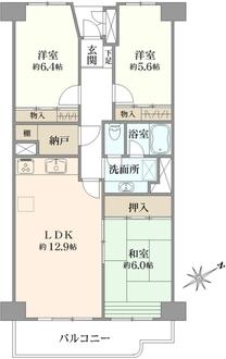 横浜パークタウンJ棟の間取図