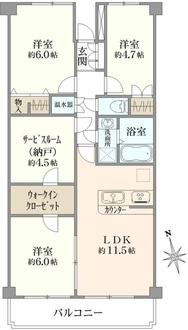 天王町サンハイツA号棟の間取図