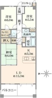 レイディアント横濱ユーロヒルズの間取図