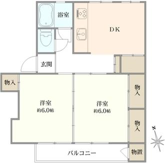 多摩川住宅ハ-9号棟の間取図