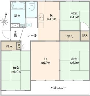 長津田団地12号棟の間取図