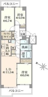 新多摩川ハイム4号棟の間取図