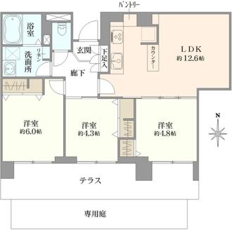 ライオンズマンション中野島の間取図