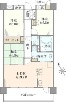 ランドステージ日吉高田の間取図