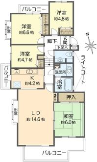横浜小机パークスクエアK棟の間取図