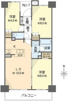 ナイスグランソレイユ横浜綱島の間取図