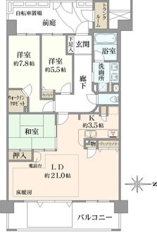 レイディアントシティ横濱カルティエ6の間取図