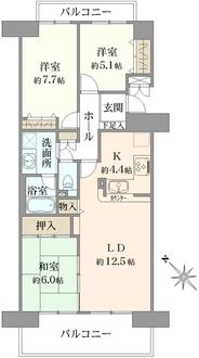 鎌倉岡本ガーデンホームズの間取図