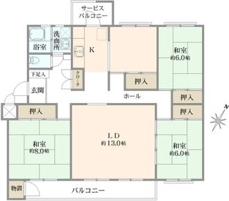 宮前平グリーンハイツ17号棟の間取図