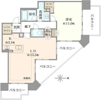 シティタワー国分寺ザ・ツインウエスト棟の間取図