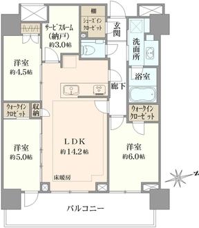 プラウドタワー武蔵小金井クロスウエスト棟の間取図