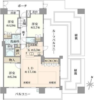 パークホームズ桜新町の間取図