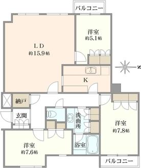 コートハウス駒沢の間取図