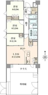 リストレジデンス桜新町の間取図