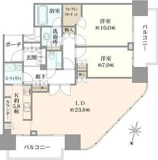 二子玉川ライズ タワーレジデンスタワーセントラルの間取図