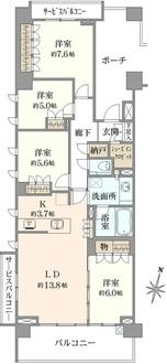 プラウドシティ阿佐ヶ谷 ガーデンA-3棟の間取図