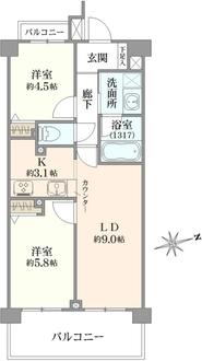 クリオ中村橋弐番舘の間取図