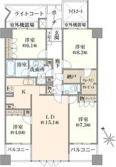 クリオレミントンハウス武蔵野の間取図