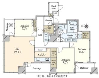 ザ・パークハウス白金二丁目タワーの間取図
