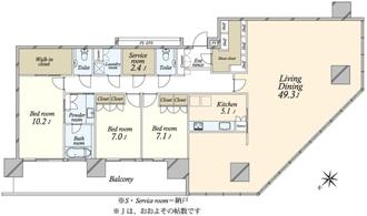 ブリリアグランデみなとみらい パークフロントタワーの間取図
