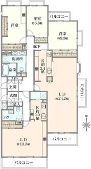 コスモフォーラム多摩2号棟の間取図