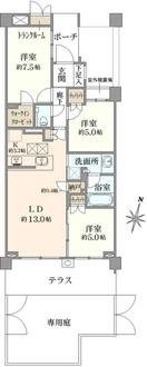 プラウド富士見ヶ丘コートテラスの間取図