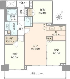 シティハウス世田谷桜丘の間取図