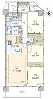 オープンレジデンシア目黒青葉台テラスA棟の間取図