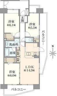コスモ川口リバーステージの間取図