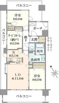 レーベンハイム川口元郷リバースクエアの間取図