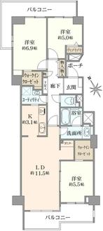 新多摩川ハイム6号棟の間取図