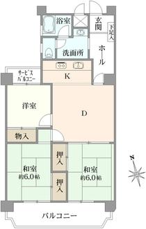 宮崎台バースビレッジA棟の間取図