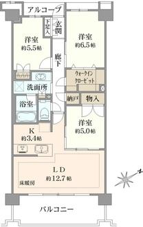 プラウドシティ武蔵野三鷹グリーンコート棟の間取図