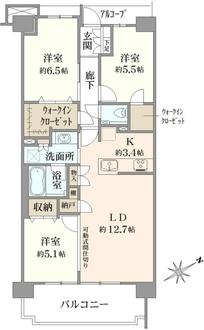 プラウドシティ武蔵野三鷹フロントコート棟の間取図
