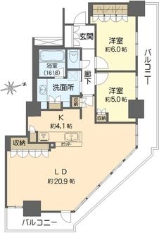 阿波座ライズタワーズ フラッグ46 (OMPタワー)の間取図