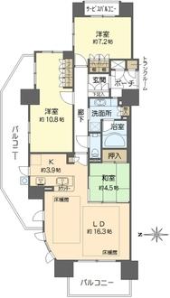 セントプレイス大阪ガーデンアクアコートの間取図