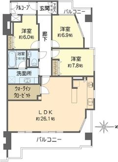 桜宮リバーシティ・コープ21の間取図