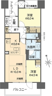 ジオ天六ツインタワーズWEST棟の間取図