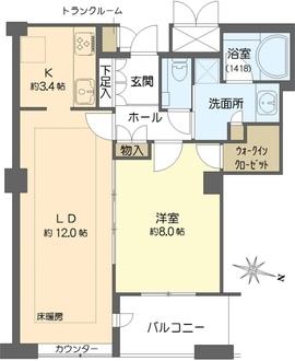 ディーグラフォート大阪N.Y.タワー HIGOBASHIの間取図