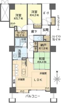 ジーニス大阪ウエスト棟の間取図