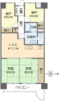 メロディーハイム法円坂の間取図